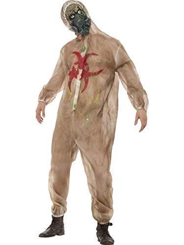 Luxuspiraten - Herren Männer Kostüm Horror Zombie Bio Chemiker Gefahrengut Schutzanzug Overall Einteiler, Biohazard Onesie, perfekt für Halloween Karneval und Fasching, M, Beige