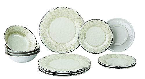 Gimex 12 teiliges Geschirr Set Stone Line Sand Azur oder Opale Campinggeschirr mit Antislip Melamin (Sand)