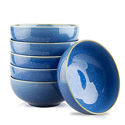 DUS Soup Rice Dessert Bowls set of 6 ,23 Ounce Porcelain Bowls for Ice Cream/Tapas/Cereal Bowls, Blue with Snowflake Dots