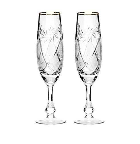 Hand Made Vintage Crystal Champagne Flute Glasses with Gold Rim, Wedding Toasting Flutes, Set of 2