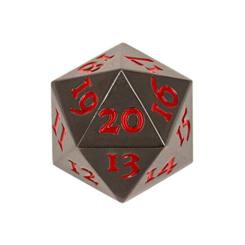 Extra Large Solid Metal D20 Spindown / Countdown Dice Black Life Counter for MTG Magic The Gathering Commander EDH Extra Heavy