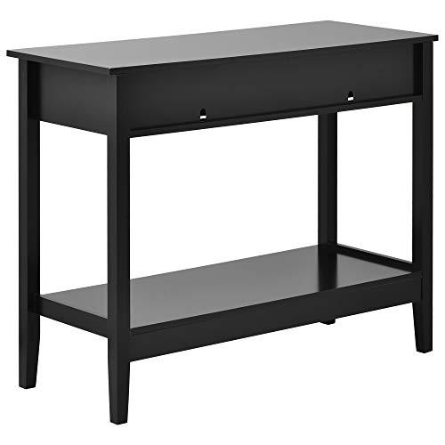 belupai Mesa de consola negra con dos cajones, mesa de trabajo de estudio blanca con patas de madera de pino para sala de estar, dormitorio, pasillo, escritorio de estudio para sala de estudio
