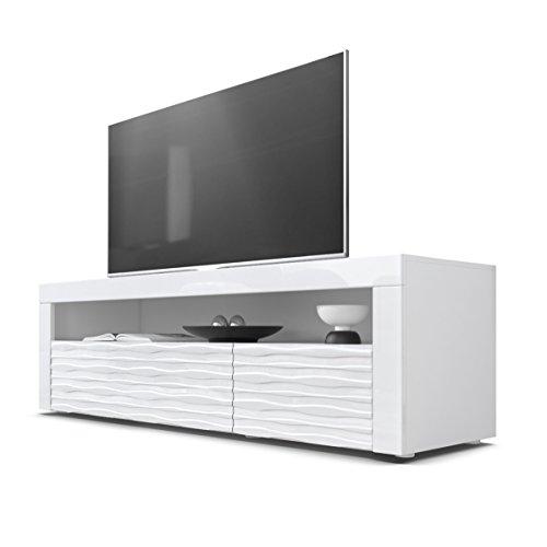 Mesa Baja para TV Valencia, Cuerpo en Blanco Mate/Frentes en Blanco de Alto Brillo con Estructura 3D Armonia y Marco en Blanco de Alto Brillo