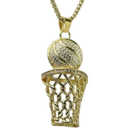 Urbanice - Collar Baloncesto Canasta Diamantes Hip Hop (Trap) (Dorado)