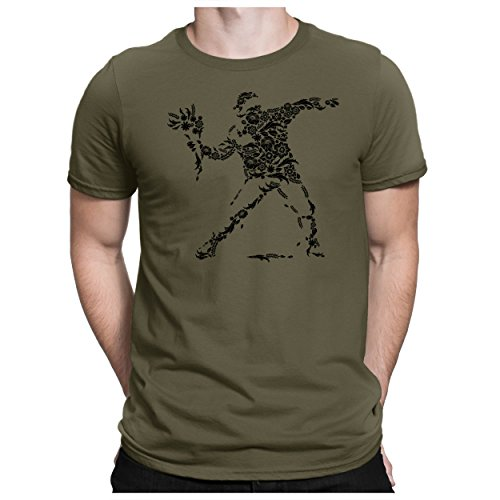 PAPAYANA - Banksy-Flower - Herren Fun T-Shirt - Riot Castro Peace War Revolution Che - L Oliv