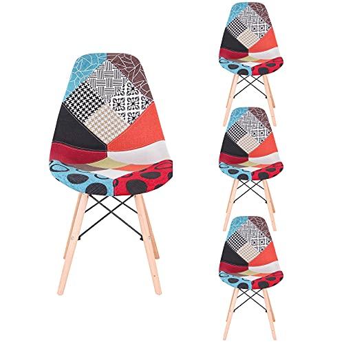 GrandCA HOME Set di 4 Sedie,sedie Patchwork di Lino Sedie da Soggiorno Sedie da Pranzo con Schienale con Cuscino Morbido (Rosso 02)