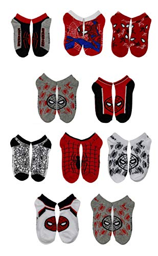 Marvel Spiderman Boys Assorted 10-Pack Athletic Low Cut No Show Socks, Youth Ages 4-10