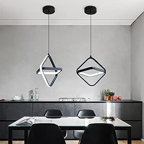 Lámpara de techo LED AUA, Lámpara Colgante moderno de 27 cm, lámpara de atenuación tricolor cuadrada de 20 W, para dormitorio y sala de estar (negro)