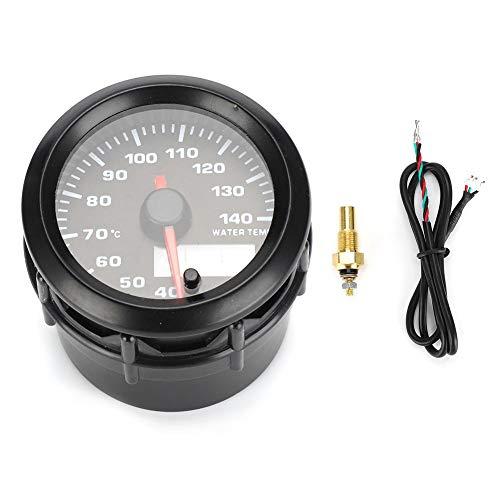 KIMISS Medidor de temperatura de agua mecánico, medidor de temperatura de agua electrónico para coche de 2 pulgadas y 52 mm Medidor analógico de temperatura con sensor 7 colores LED universal