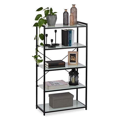 Relaxdays Freistehende Kommode, moderner Metallrahmen mit 5 Glasablagen, Küche, Bad, schwarz, Eisen, 114,5 x 60 x 30 cm