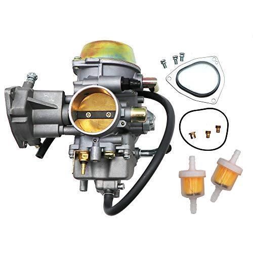 KIPA Carburetor For Yamaha RHINO 660 YFM660 YXR660FA YXR660FSE YXR660FH YXR660 Hunter UTV ATV 2004 2005 2006 2007 Replace OEM part number 5KM-14901-00-00 2Pcs New Main jets & 2Pcs Fuel Filters