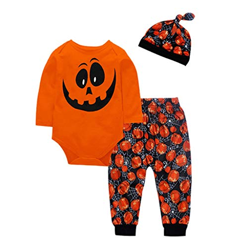 Allence - Disfraz infantil de manga larga para Halloween, conjunto de ropa para beb, conjunto de ropa y sombrero, amarillo, 100 cm