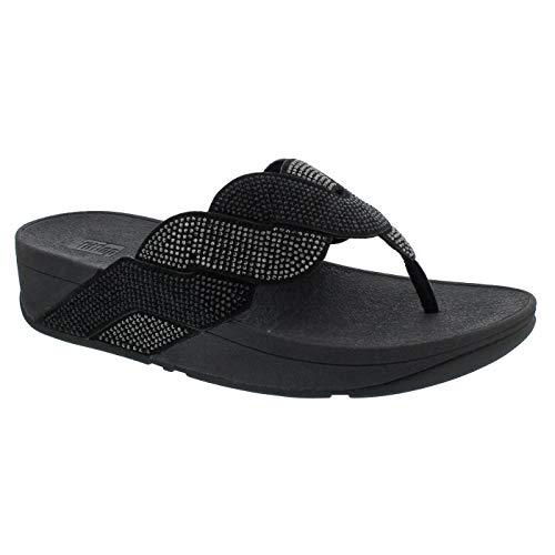 Sandalias de cuña de Mujer FitFlop Entre Dedo con Tachuelas en Negro (Ropa)