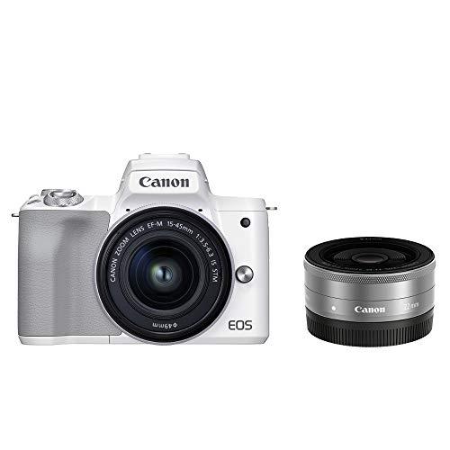 Canon ミラーレス一眼カメラ EOS Kiss M2 ダブルレンズキット ホワイト KISSM2WH-WLK