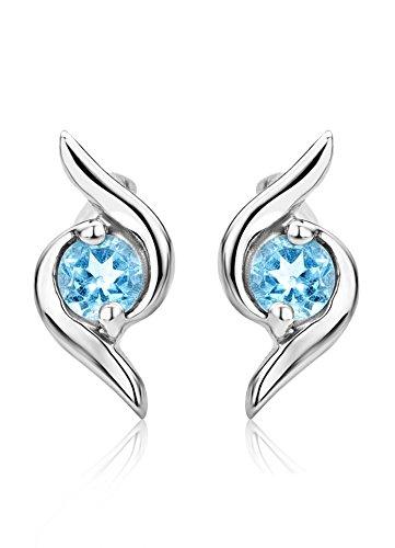 Miore Ohrringe Damen runde Ohrstecker mit Edelstein/Geburtsstein Topas in blau aus Weißgold 9 Karat / 375 Gold, Ohrschmuck