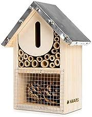Navaris S Hotel para Insectos de Madera - Observatorio de Insectos 15 x 8 x 20CM - Casa Natural Cubierta metálica y Gancho para Diferentes bichos