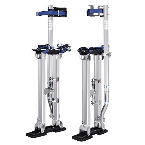 Silver Aluminum Ergonomics Drywall Stilt Lightweight 330Lbs w/ Adjustable Height 18