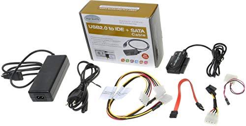 PremiumCord USB 2.0 naar IDE + SATA adapter met kabels en voeding, rode/groene LED, ondersteunt USB 2.0 High Speed, SATA, SATA II, IDE, IDE 44-Pin