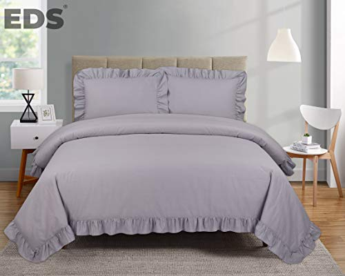 EDS Frilled Edge Duvet Cover Bedding Set - Corner Ruffle Quilt Cover Set with Two Pillowcases - Easy Care - Secure Zipper Closure - Soft Poly Cotton – Machine Washable (Frilled Silver Grey, King)