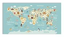 Panorama Alfombra Vinílica Mapamundi Animales 120x170 cm - Alfombra Infantil Vinilo - Alfombra Salón Antideslizante, Antihongos e Ignífuga - Alfombras Grandes - Alfombras PVC