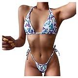 jieGorge Swimsuit Tummy Control, Women Bandeau Bandage Bikini Set Push-Up Brazilian Swimwear Beachwear Swimsuit, Bathing Suit for Women (Blue M)