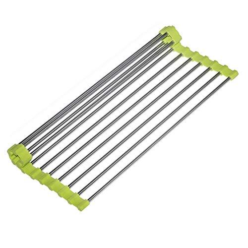 Sinzau - Escurridor de platos enrollable, 47 cm de largo x 28 cm de ancho, sobre el fregadero plegable de acero inoxidable (verde)