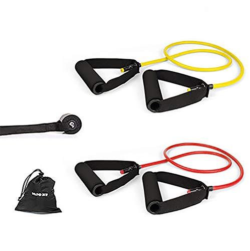 Tubo de resistencia, banda de tubo de resistencia con mango para usar con patas o barra, tubo de resistencia para ejercicios de fitness, rutinas de entrenamiento, amarillo, rosa, 2 unidades