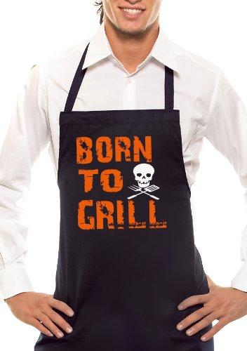 Skull – Bicolore – Born to Grill Tablier de Barbecue Noir/Orange/Blanc