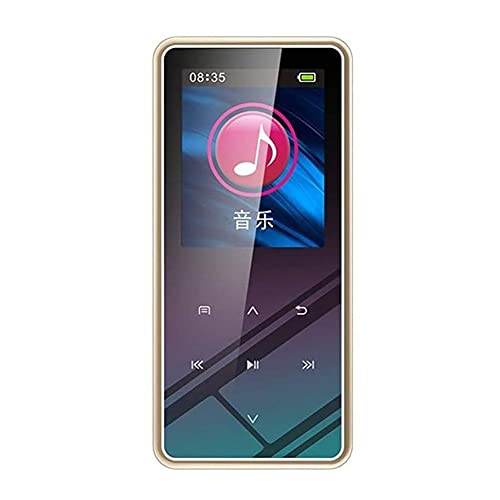 UOOD MP3 Jugador, 1.5 Pulgadas TFT Botones táctiles, FM Radio, Reproductor de música sin pérdida de HiFi con Altavoz, FM Radio, grabación, e-Book (Color : Gold, Size : 8GB)
