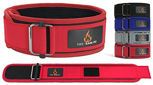Fire Team Fit 4 Inch Weight Lifting Belt for Men and Women, Back Support for Powerlifting, Squats, Deadlifts, Weightlifting & Cross Training Workout (Red, X-Small)
