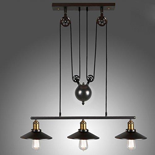 Lovedima Tray Adjustable Height Pulldown Island Pendant Light Ceiling Lamp Retro Industrial 1 Light/2 Lights/3 Lights (3-Light)