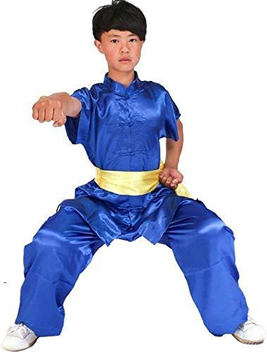 Axpdefi Uniforme de Tai Chi para Mujer, Uniformes de Traje de Kung fu de Seda para niños Unisex, Traje de Artes Marciales de Manga Corta, Ropa de Tai chi, Trajes de Ejercicio matutino, azulB-155CM