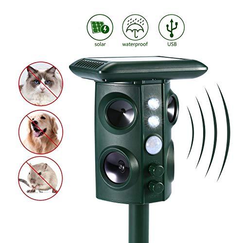 Ultraschall Tiervertreiber Solar Tierabwehr Wasserdicht Abwehr Katzenschreck Hundeschreck Marderabwehr vogelabwehr