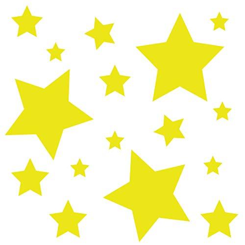 kleb-Drauf® | 18 Sterne | Gelb - matt | Wandtattoo Wandaufkleber Wandsticker Aufkleber Sticker | Wohnzimmer Schlafzimmer Kinderzimmer Küche Bad | Deko Wände Glas Fenster Tür Fliese