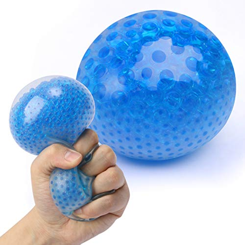 Giant Stress Ball, Blue Fidget Toy for Adults and Teens, Relieve Anxiety Using a Sensory Tool with Water Beads, Squishy Stress Relief Toy for Kids, Jumbo Bead Ball a Fun Autism Toy for ADHD and OCD