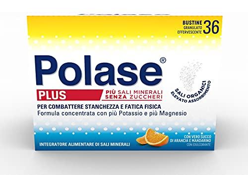 Polase Plus, Formula Concentrata, Integratore Alimentare di Potassio e Magnesio, Aiuto per Stanchezza e la Fatica Fisica, Ottimo per il periodo estivo, Senza Glutine, Arancia e Mandarino, 36 bustine