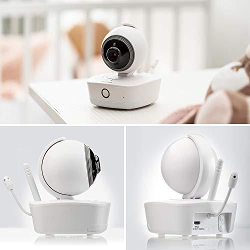 Reer - IP BabyCam Move, trasforma lo smartphone in un baby monitor, visione completa telecomandabile a 330°, memorizzazione dei dati in Germania, 80310, bianco
