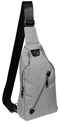Akzent Unisex-Brusttasche Crossbag Damen Herren Grau Schwarz Stoff 3600158-001