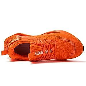 SKDOIUL Men Sport Running Sneakers Tennis Athletic Walking Shoes mesh Breathable Comfort Fashion Runner Gym Jogging Shoes Orange Size 6.5
