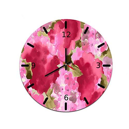 LUOYLYM Ländliche Blume Wohnzimmer Kreative Heimat Wanduhr Acryl Wanddekoration Wanduhr Stumm Bewegung Uhr F514-51 28CM