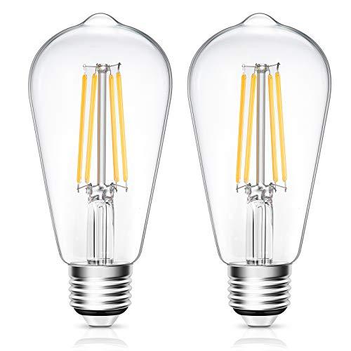 LED Light Bulb, Pack of 2 LED Edison Bulb, 6 Watt Light Bulbs (60W Equivalent), 800 Lumens, 2700K Warm White, CRI 80+, 120V, E26 Base Led Bulbs, 25000 Hours Lifespan, Non Dimmable, ETL Listed