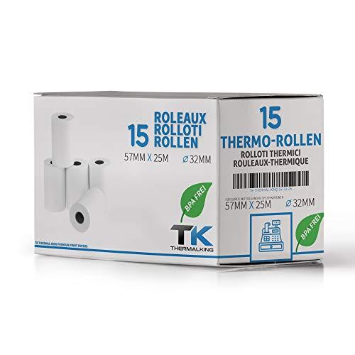 15 x EC Cash Thermorollen | Breite: 57 mm – Durchmesser: 35 mm - Hülsendurchmesser: 12 mm – Länge: 25 m | für Bondrucker, EC-Terminals, etc.