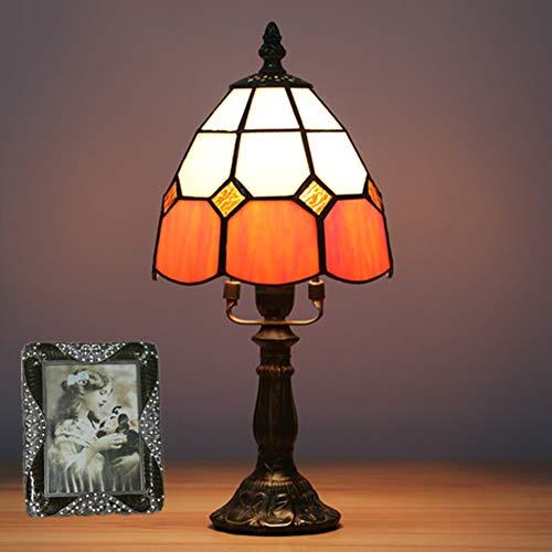 GYLNAI Lamparas Tiffany de Mesa, 6 Pulgadas de Tiffany lámpara de Vidrio de Color para el Dormitorio Barra de la cabecera del Hotel Dresser Mesa de café TFN-07,Naranja,Resinbase