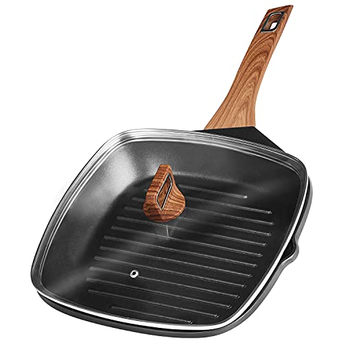 Insetfy Grill Pan for Stove Tops with Lid Nonstick Square Griddle Pan Induction Steak Bacon Pan, 11 Inch