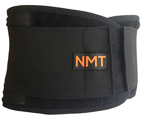 """Back Brace by NMT ~ Lumbar Support Black Belt ~ Posture Corrector ~ Arthritis, Pain Relief, Sciatica, Scoliosis ~ Physical Therapy for Women-Men ~ 4 Adjustable Sizes-'XL' Fits Waist 40-45"""" (102-115cm)"""