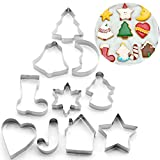 Xinlie Formine per Biscotti Acciaio Inox Stampi Biscotti Set di formine per Biscotti di Natale in 3D Set di Formine per Biscotti di Natale Set di Formine per Biscotti da Forno, Decorazioni (10 Pezzi)
