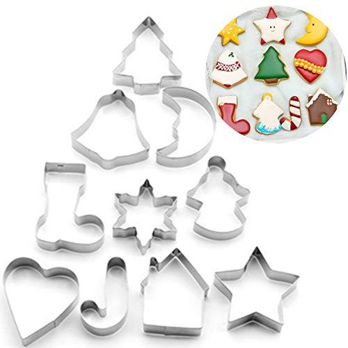 Xinlie Cortadores de Galletas Navideñas Cortadores de Galletas de Acero Inoxidable para Galletas de Navidad Navideñas Juego de Cortadores de Galletas para Galletas de Fondant para Hornear (10 PCS)