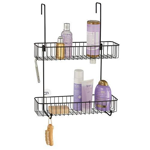 mDesign Duschablage aus rostbeständigem Metall – einfache Montage an der Duschtür – Duschregal mit 2 Ebenen – Duschzubehör ohne Bohren – mattschwarz