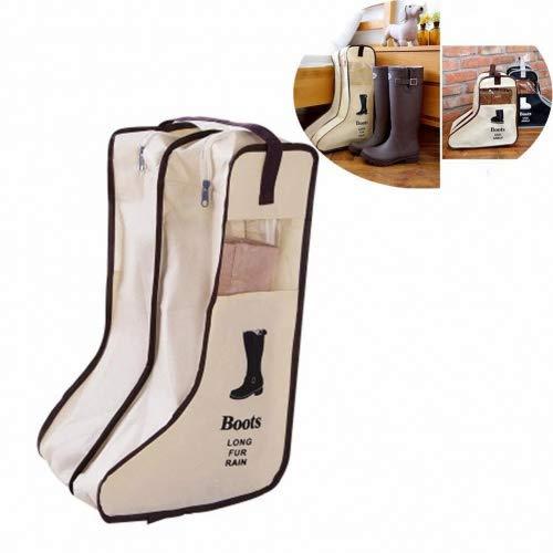 Chickwin Bolsas de Zapatos, 2 Pcs Accesorios de Viaje con la Cremallera para los Hombres y de Las Mujeres Cordón a Prueba de Polvo portátil con Ventana Transparente (Beige, 29 * 47 * 24cm)