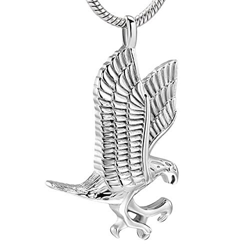 TIANZXS Colgante de urna de cremación de águila de Acero Inoxidable para Mascotas, Recuerdo de Animales, Cenizas conmemorativas, Cofre, joyería dePlata